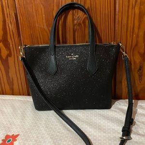 Kate Spade Small Joeley Glitter Black Satchel Bag